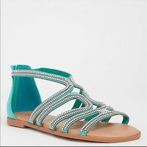 Torrid Jeweled Zip Sandals Size 10W